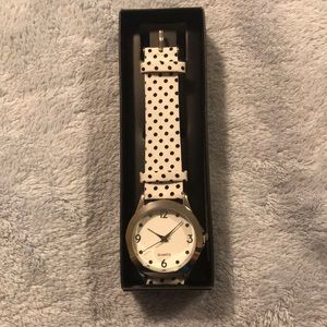 Brand new white spotted polka dot watch